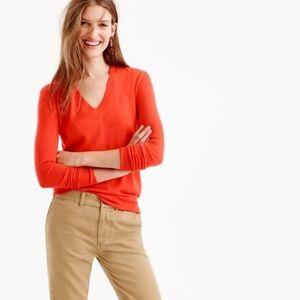 J. CREW Cotton Coral V-Neck Sweater XS